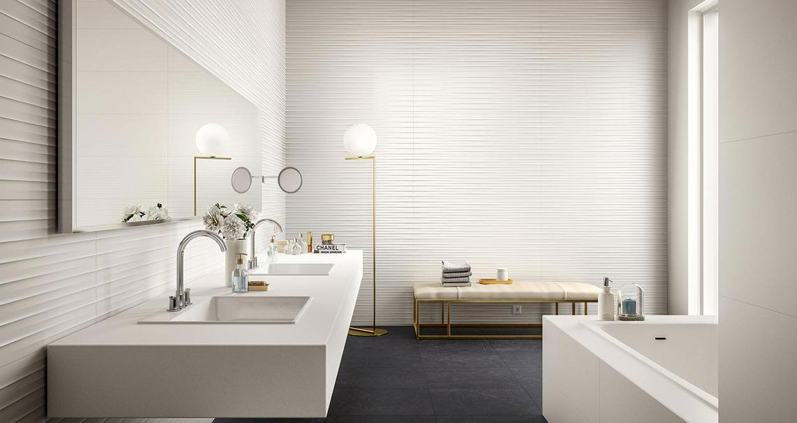 Essenziale Carrelage Blanc Pour Salle De Bain Structures 3d Marazzi