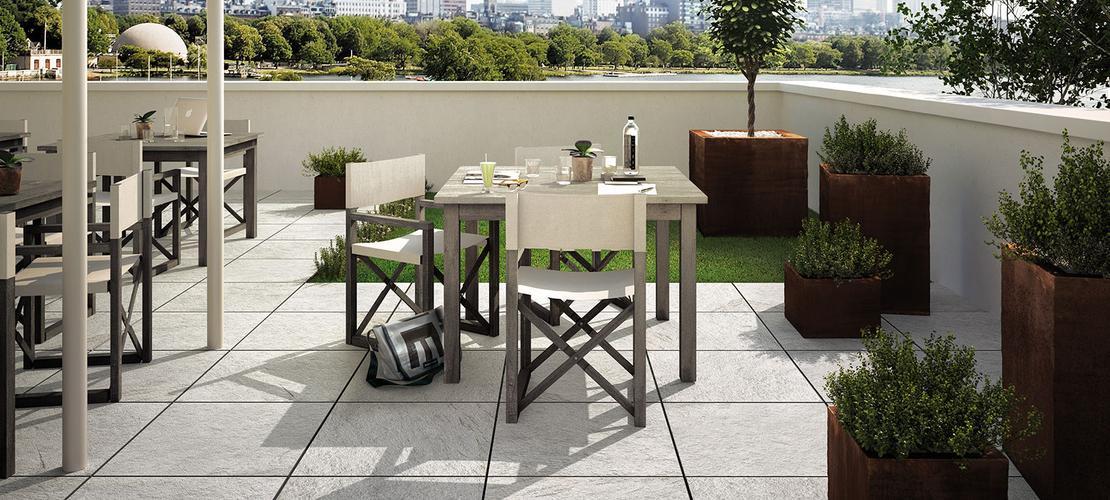 Multiquartz20 gr s c rame pour ext rieurs marbres marazzi for Ceramique exterieur sur beton