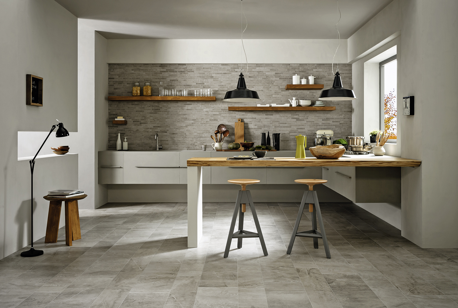 Blend carrelages satin s effet pierre marazzi for Piastrelle parete cucina