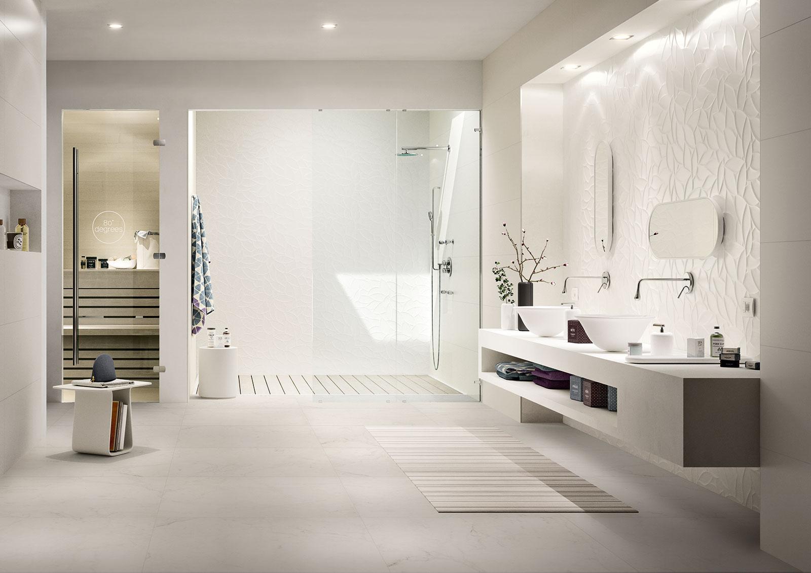 essenziale carrelage blanc pour salle de bain structures 3d marazzi. Black Bedroom Furniture Sets. Home Design Ideas